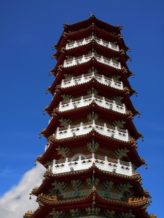 asian ancestry: The famous Ci En Pagoda on the shores of Sun Moon Lake
