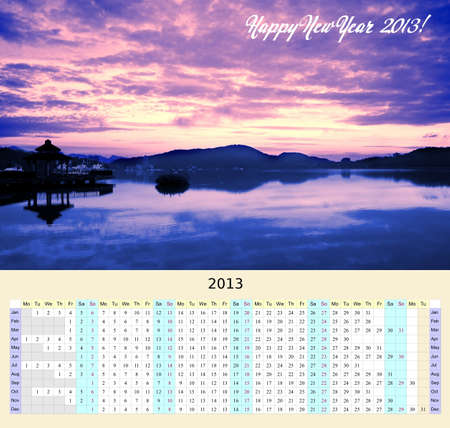 A unique year-at-a-glance calendar for 2013 that shows the whole year on a beautiful wall poster photo