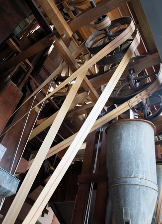 wood turning: An old large piece of equipment used to remove the husk from rice in Taiwan