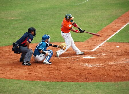 PINGTUNG, TAIWAN, APRIL 8: In a game of the China Professional Baseball League the Uni-President Lions defeat the Lamigo Monkeys 2:0 on April 8, 2012 in Pingtung. Stock Photo - 13154534
