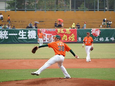 PINGTUNG, TAIWAN, APRIL 8: Pitcher Wordekemper of the President Lions in action in a game of the Pro Baseball League against the Lamigo Monkeys. The Lions won 2:0 on April 8, 2012 in Pingtung.  Stock Photo - 13154522