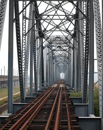 Vintage iron truss bridge across the Gaoping River in Taiwan photo