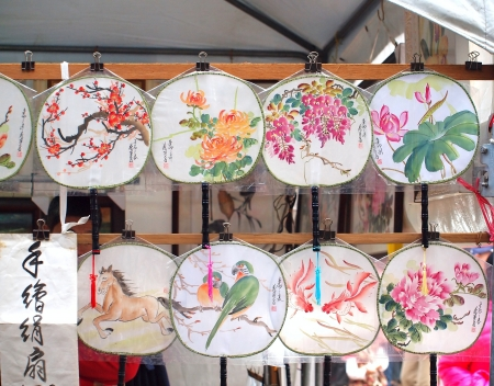 A New Year market with hand-painted fans