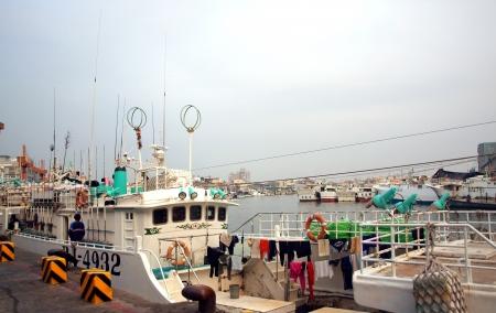 DONGGANG, TAIWAN, APRIL 28: Fishing boats at Donggang harbor prepare for the start of the yearly bluefin tuna fishing season on April 28, 2012 in Donggang. Editorial