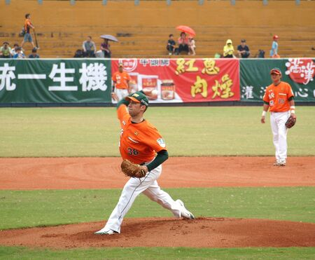 PINGTUNG, TAIWAN, APRIL 8: Pitcher Wordekemper of the President Lions in action in a game of the Pro Baseball League against the Lamigo Monkeys. The Lions won 2:0 on April 8, 2012 in Pingtung. Stock Photo - 13744552