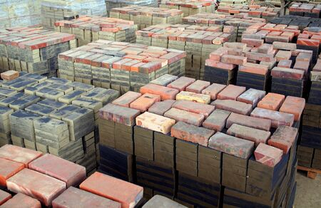 Stacks of freshly formed bricks are drying before firing Stock Photo - 14252622