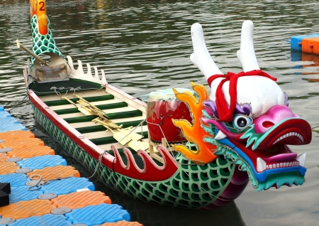A richly decorated dragon boat is anchored on the Love River in Kaohsiung in preparation for the Dragon Boat Festival