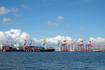 rebounding: KAOHSIUNG, TAIWAN, JUNE 16: Yang Ming Marine Transport Corp, the second-largest container shipper says it expects to return to the black this month, with profitability further rebounding in the third quarter, on June 16, 2012 in Kaohsiung. Editorial