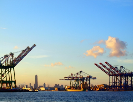 Silhouette of Kaohsiung city seen from the container port terminal