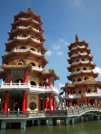 Tiger and Dragon Pagodas at the Lotus Lake in Kaohsiung