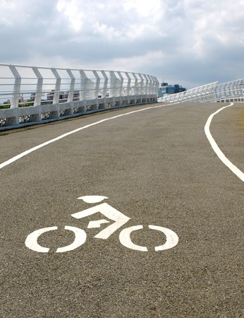 bikeway: A modern curved bridge designed for cyclists