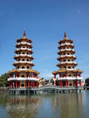 octagonal: The Tiger and Dragon Pagodas at the Lotus Lake in Kaohsiung in Taiwan