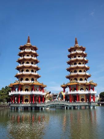 balustrades: The Tiger and Dragon Pagodas at the Lotus Lake in Kaohsiung in Taiwan