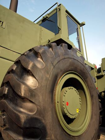 earth moving: Massive tire of a military earth moving equipment vehicle