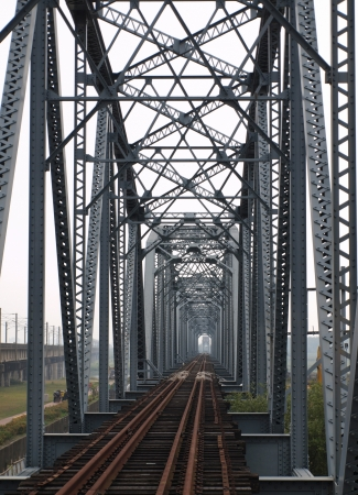 Remains of the old iron truss bridge across the Gaoping River in Taiwan photo