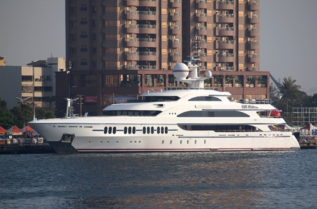 ambrosia: KAOHSIUNG, TAIWAN - FEBRUARY 22: The luxury yacht Ambrosia makes a port call at Kaohsiung City on February 22, 2013 in Kaohsiung.