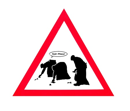 dog poop: A humorous sign to encourage people to clean up their dog poop