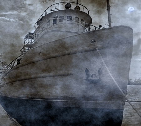 A vintage fishing boat is anchored in port on a spooky moonlit night Stock Photo - 20718649