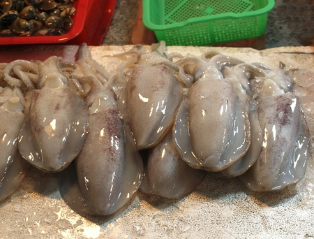 offered: Fresh squid is offered at an outdoor market
