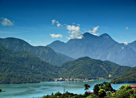 A view of the famous Sun Moon Lake in central Taiwan