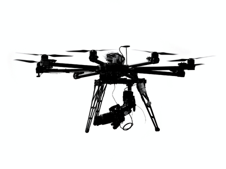A UAV or drone with a camera mounted on it