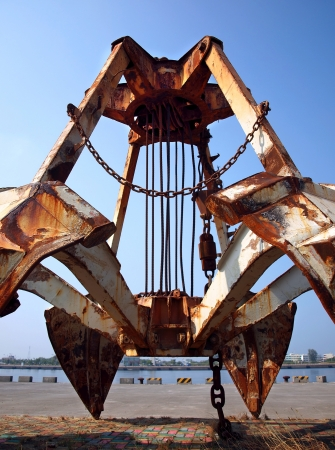 grabber: A large clam shell grabber previously used for dredging operations Stock Photo