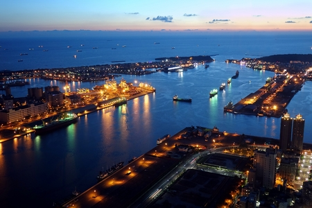 Panoramic view of Kaohsiung Port and Chijin Island at Dusk