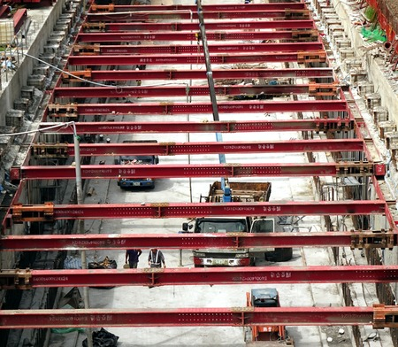 KAOHSIUNG, TAIWAN -- MAY 25, 2014:  Construction continues on the light rail system in Kaohsiung, the first such transportation system in Taiwan.