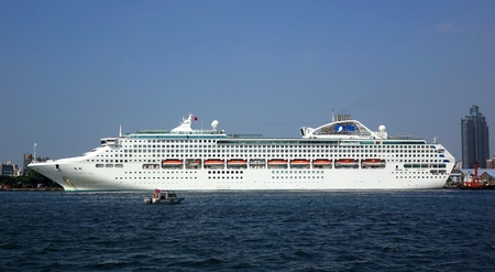 lifeboats: KAOHSIUNG, TAIWAN -- OCTOBER 11, 2014:  The cruise ship Sun Princess with more than 1000 guest cabins docks at Kaohsiung Harbor.