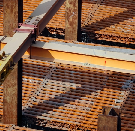 girders: Strong steel girders support a large scale construction project Stock Photo
