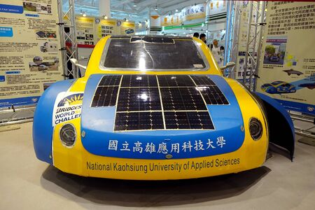 KAOHSIUNG TAIWAN  APRIL 18 2015: A solar powered vehicle developed by the University of Applied Science is on display during the 2015 Industrial Automation Expo. Editorial