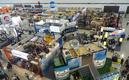 machinery machine: KAOHSIUNG TAIWAN  APRIL 18 2015: A birds eye view of the Kaohsiung Industrial Automation Exhibition 2015 that took place in the Kaohsiung Exhibition Center.
