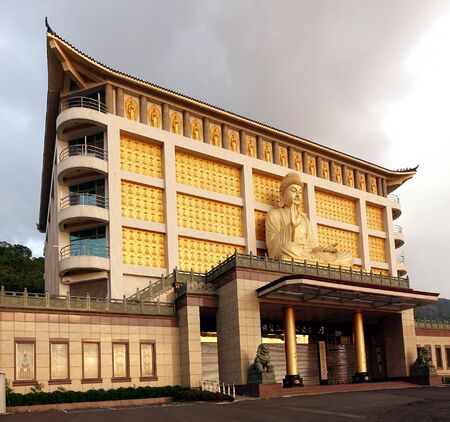 humanities: PINGTUNG, TAIWAN -- APRIL 30, 2015: The Lilong Humanities Memorial Temple is an imposing Buddhist structure in the southeast of Taiwan overlooking the Taiwan Strait.