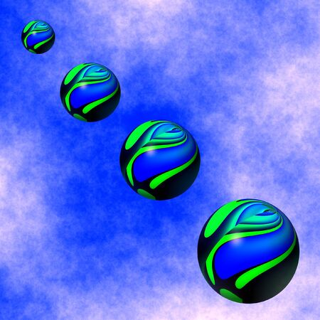 푸른 하늘에서 내림 다채로운 구체의 그래픽 일러스트