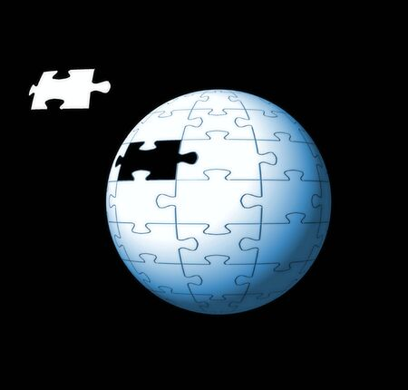 missing piece: Conceptual image of a puzzle sphere with a missing piece. Good for business solutions and consulting.