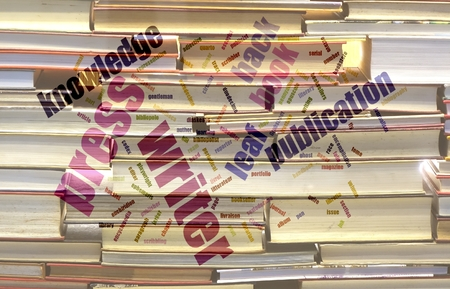 publications: A wordcloud about books, printing, publications against a blurred background of books