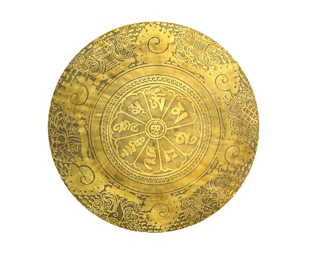 gong: A Tibetan prayer gong made from bronze with engravings Stock Photo