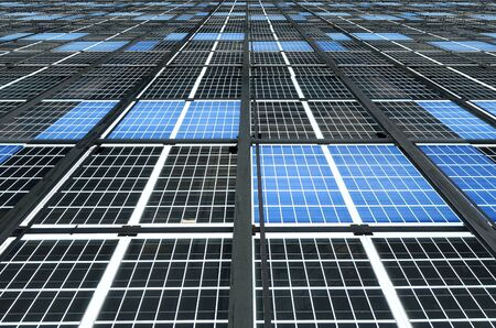 photons: A large solar pane installation for promoting of sustainable energy