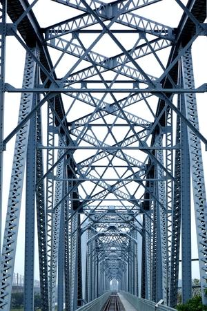 railway transport: Vintage iron railway bridge dating back one hundred years Stock Photo