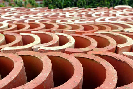 brick kiln: Kiln fired Chinese roof tiles made from brick material
