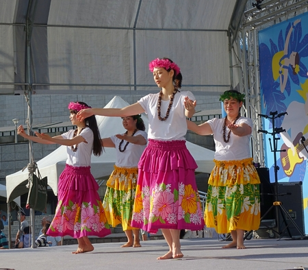 outdoor event: KAOHSIUNG, TAIWAN -- APRIL 23, 2016: A group of unidentified dancers performs a Hawaiian dance at the 1st Pacific Rim Ukulele Festival, a free outdoor event. Editorial