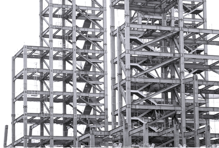 industry architecture: Monochrome image of a large steel structure for a construction project Stock Photo