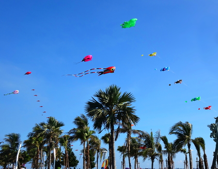 KAOHSIUNG, TAIWAN -- AUGUST 13 , 2017: Colorful kites are flying high as part of the yearly Black Sand Beach Festival on Cijin Island.