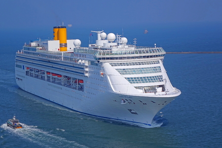 KAOHSIUNG, TAIWAN -- SEPTEMBER 12 , 2017: The luxury cruise liner Costa Victoria coming from Japan approaches Kaohsiung Port. Editorial