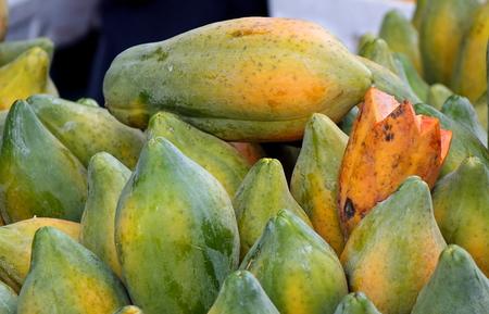A market in Taiwan sells fresh locally grown papayas