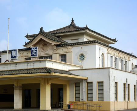 KAOHSIUNG, TAIWAN -- SEPTEMBER 13, 2018: The historic railway station of Kaohsiung was built in the 1940s during the period of the Japanese colonial rule. Editorial