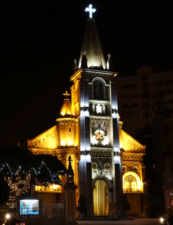 KAOHSIUNG, TAIWAN -- DECEMBER 1, 2018: Night view of the Holy Rosary Cathedral. Built in 1860, it is the oldest Catholic church in Taiwan.