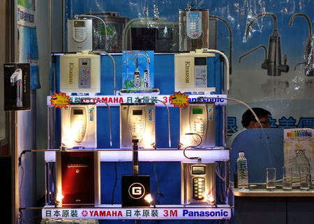 KAOHSIUNG, TAIWAN -- APRIL 5, 2019: A booth with water purifiers at a sales and promotional fair for electric household appliances.
