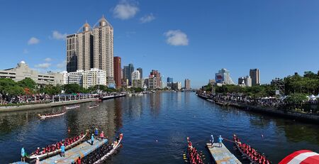 KAOHSIUNG, TAIWAN -- JUNE 7, 2019: The Love River in downtown Kaohsiung is the scene of the yearly dragon boat races.