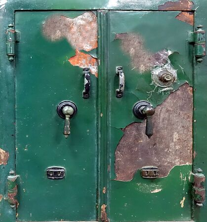 An old steel safe with a combination as well as key lock